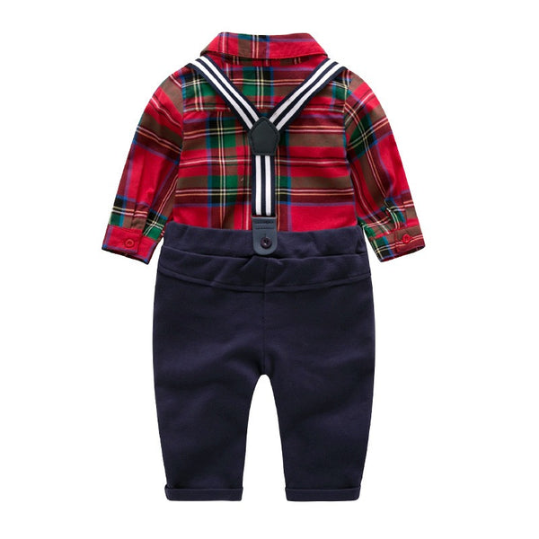 Bow Checks Shirt With Suspenders Set