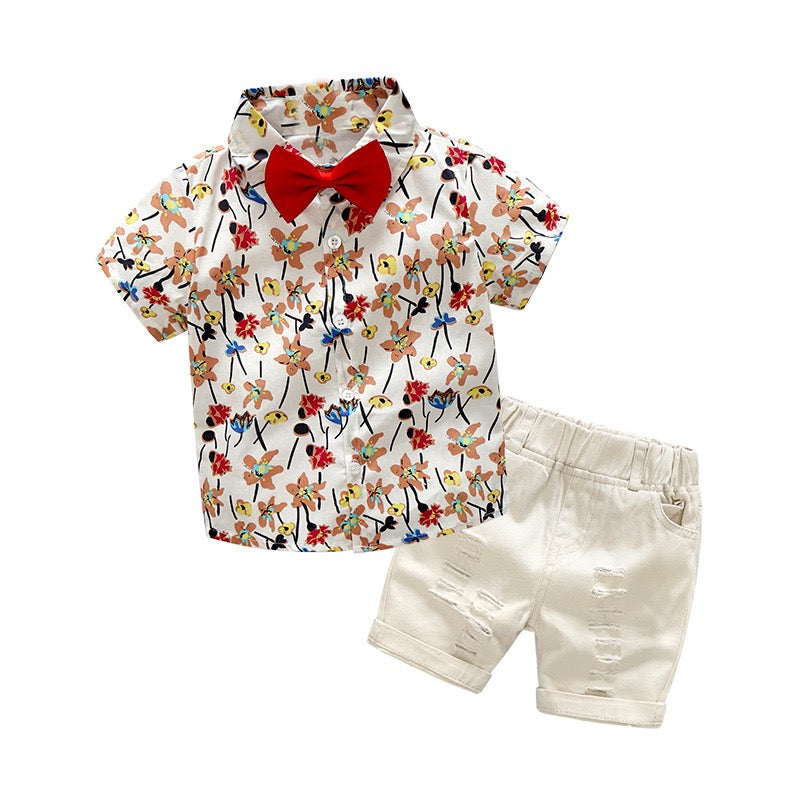 Floral Bow Shirt And Rugged Shorts Set