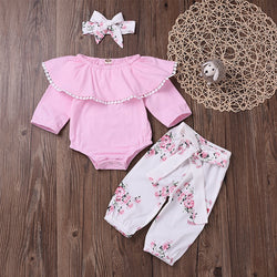 Pink Romper And Floral Pant Set With Headband