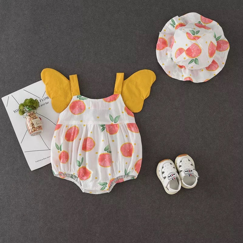 Peach Printed Wing Made Romper With Cap