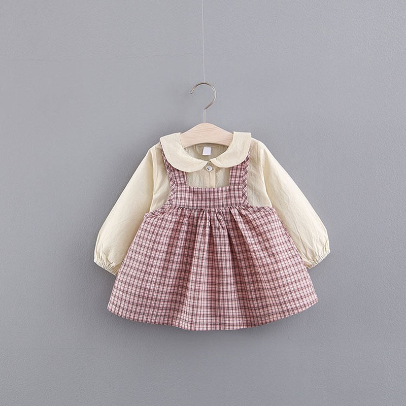Doll Collar Shirt Plus Plaided Baby Dress