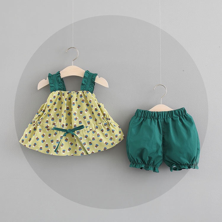 Printed Bow Dress Plus Shorts Set