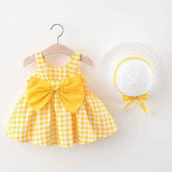 Checkered Bow Dress With Hat