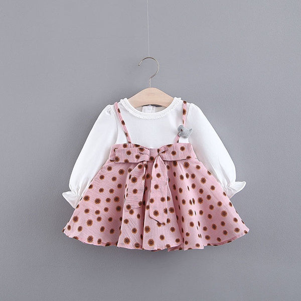 Polka Dots Bow Strap Baby Girl Dress