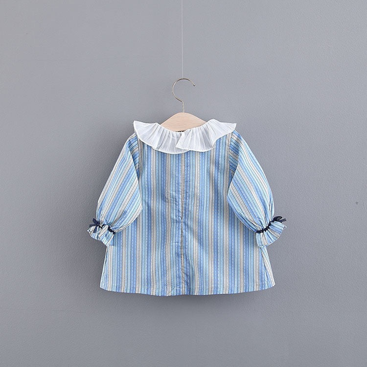 Striped Bow Long Sleeves Baby Dress