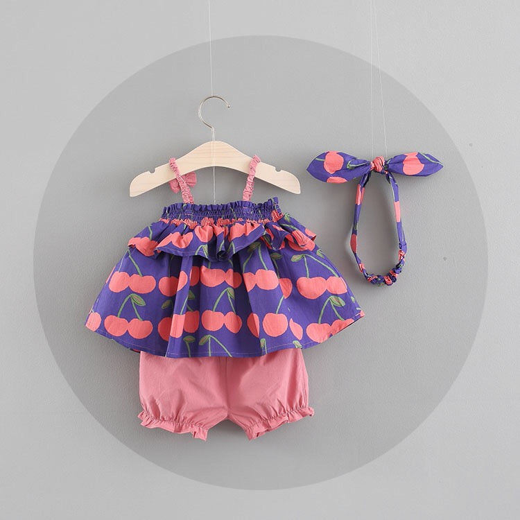 Cherry Printed Summer Set For Baby Girls