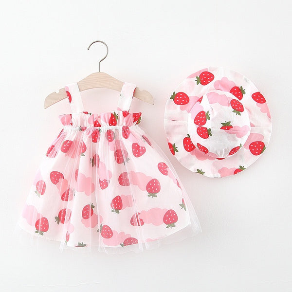 Fruit Printed Dress With Hat