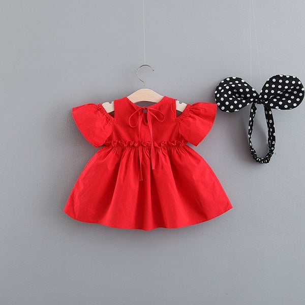 Red off shoulder dress with headband