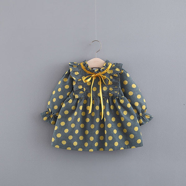 Ruffles Polka Dots Long Sleeve Baby Dress