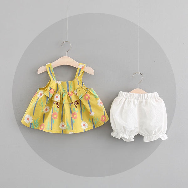 Strap Floral Summer Set For Baby Girls