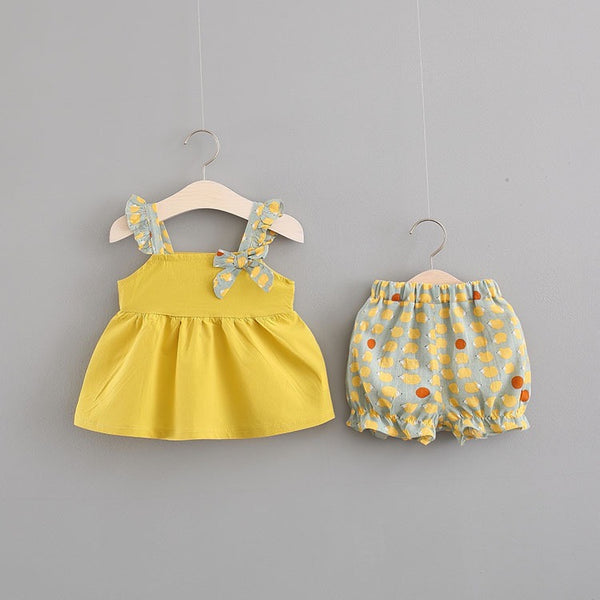 Bow Strap Top And Shorts Set