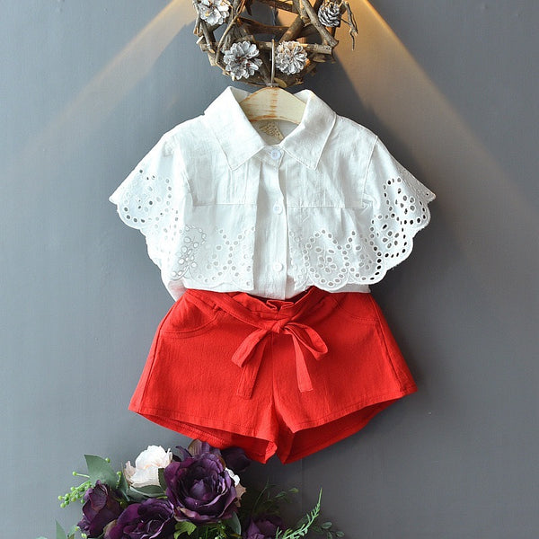 Eyelet Top And Knotted Shorts Set