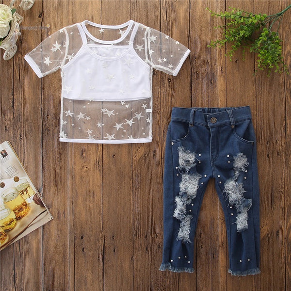 Star Printed Net Top And Rugged Denim Set