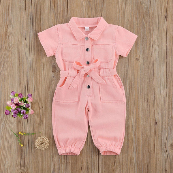 Pink double pocket knotted jumpsuit
