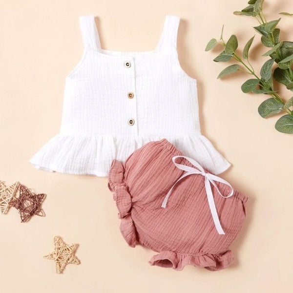 Buttoned Ruffle Top And Bloomer Set