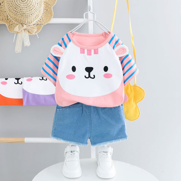 Bear Made Tshirt And Denim Shorts Set