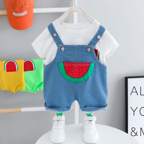 Watermelon dungaree summer set