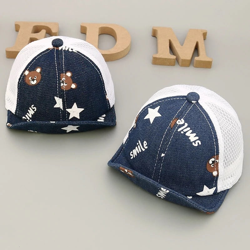 Half Denim Baby Caps