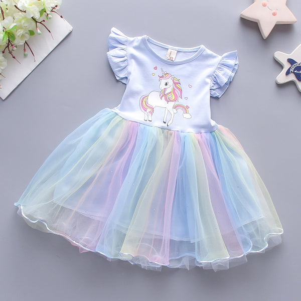 unicorn printed party dress