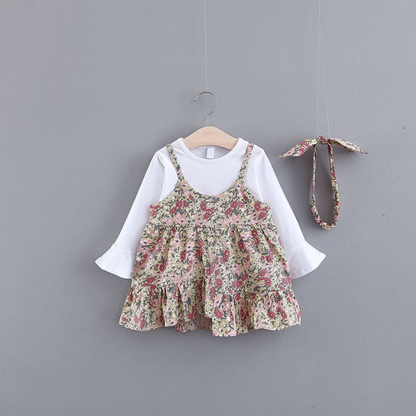Floral Printed Ruffle Dress With Headband