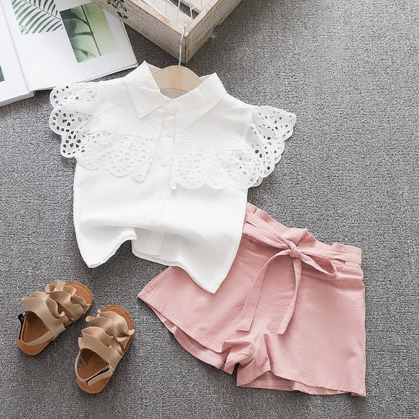 Eyelet Top And Shorts Set