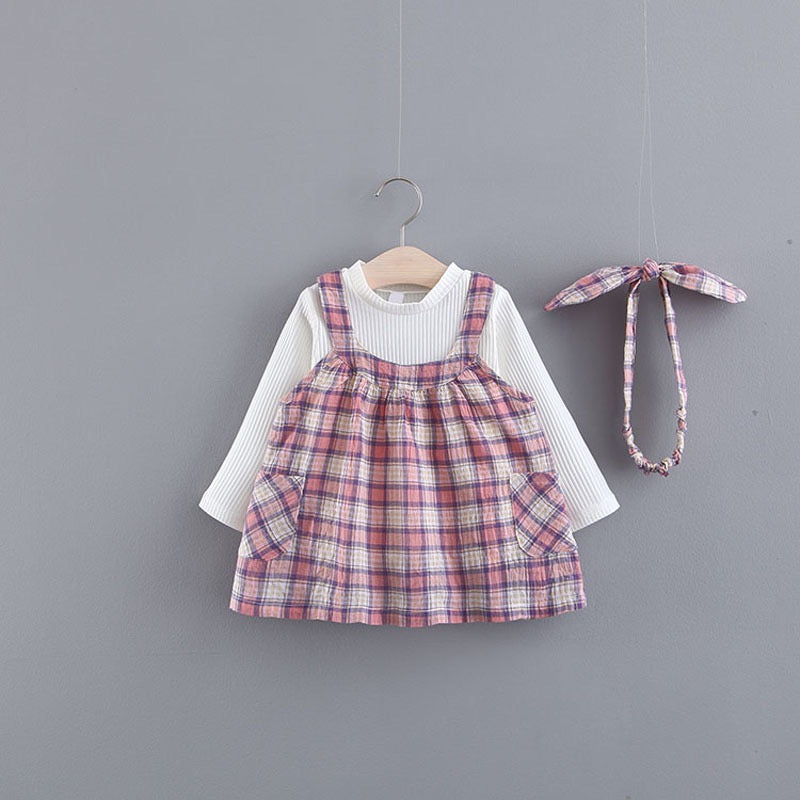 Plaided Double Pocket Overall Dress