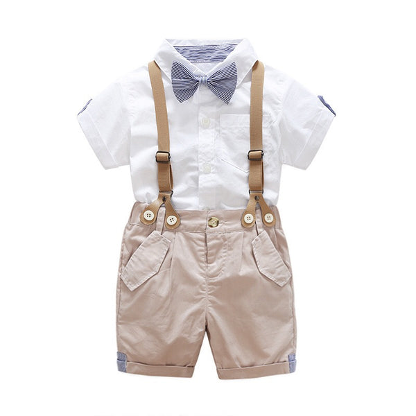 Bow Shirt With Khaki Suspenders Set