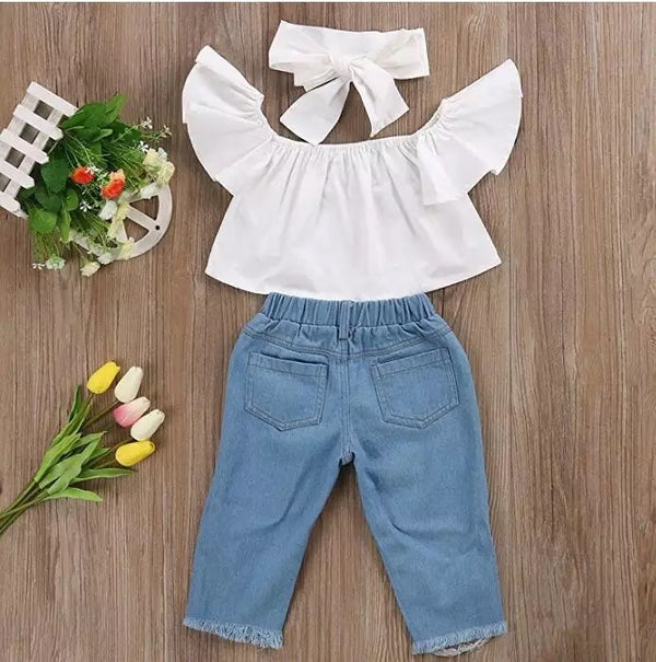 White Off Shoulder Top And Rugged Denim Set