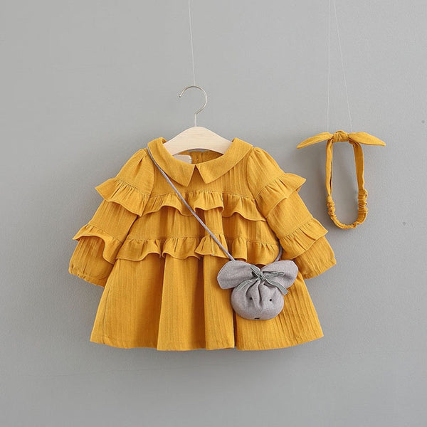 Doll Collar Ruffles Dress With Headband