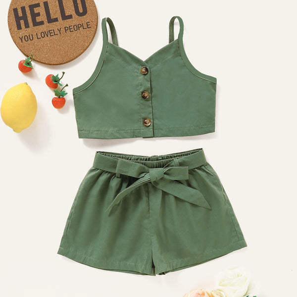 Buttoned Top And knotted Shorts set