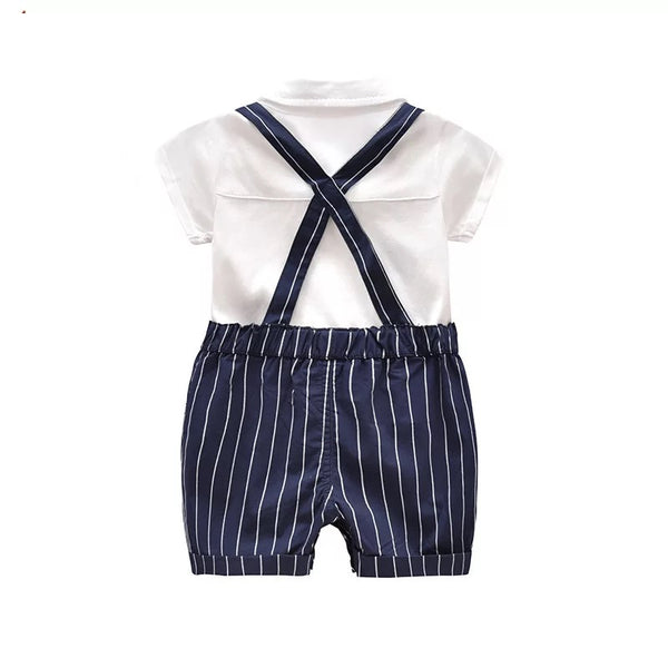 Bow White Romper Plus Striped Suspenders Set