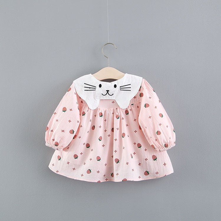 Strawberry Printed Doll Collar Baby Girl Dress