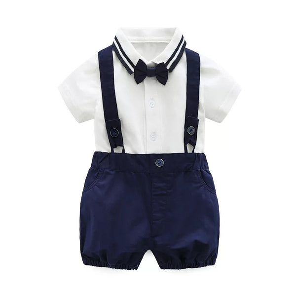 White Bow Romper Plus Blue Suspenders Shorts Set