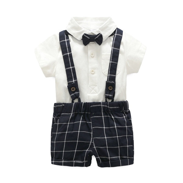 Plaided Bow Romper Set