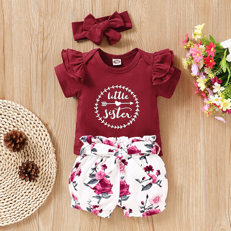 Little Sister Romper And Floral Shorts Set