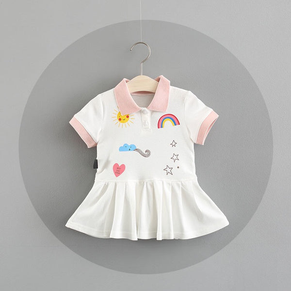 Polo Collar Rainbow Dress For Baby Girls
