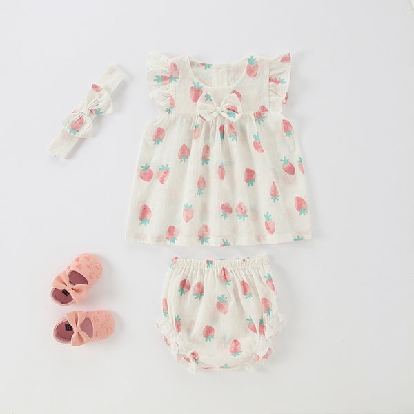 Fruit Printed Ruffle Bloomer Set With Headband