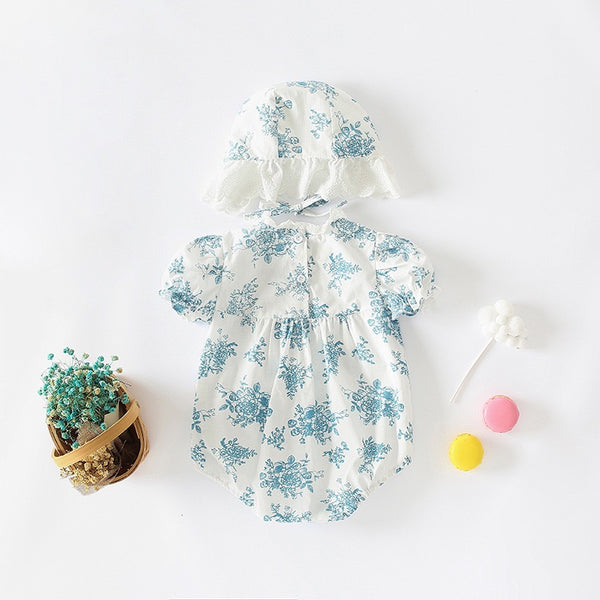 Floral Ruffle Romper with hat