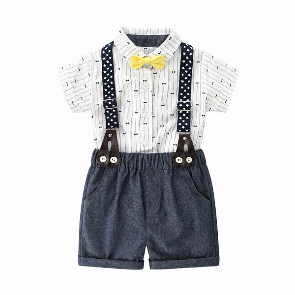 Bow Printed Romper And Suspender Shorts Set
