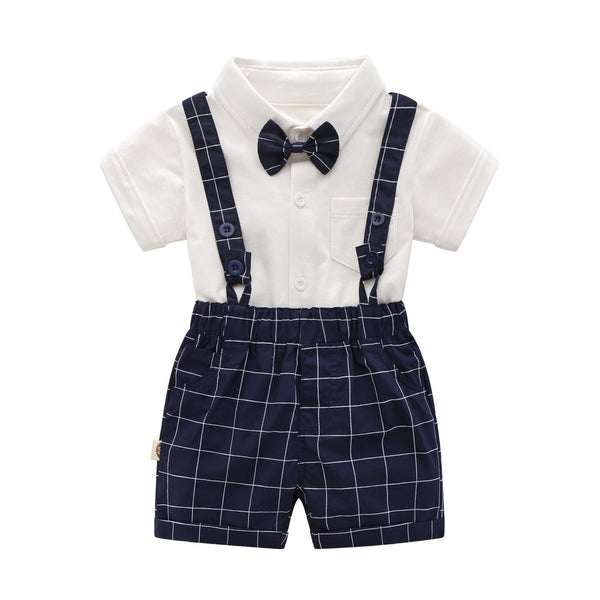 Bow Romper And Checkered Suspenders Set