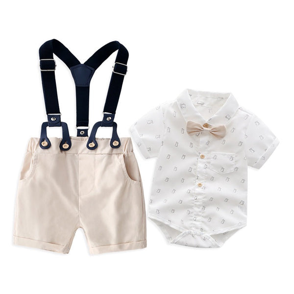 Printed Romper With Bow And Suspender Shorts