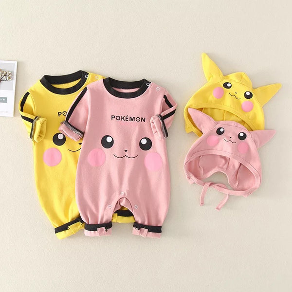 Pokemon Full Sleeves Romper With Cap