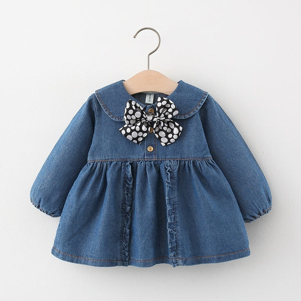 Denim Dress With Polka Dotted Bow Neck