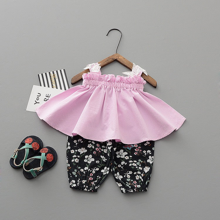 Strap Pleated Top And Floral Pant Set