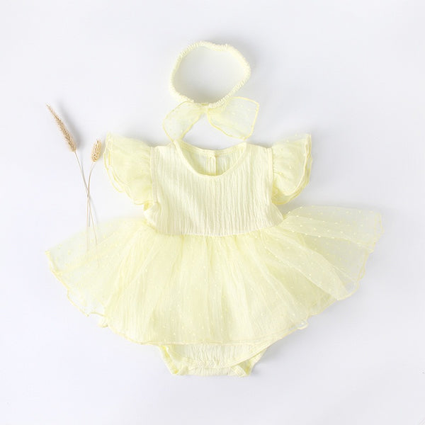 Cap Sleeves Tutu Baby Girl Romper
