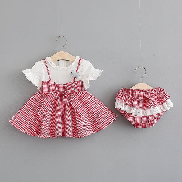 Bow knotted Checks strap Dress with bloomer