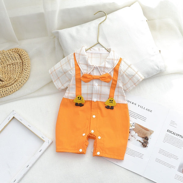 Suspender Style Romper With Bow