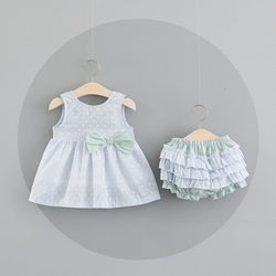 Polka Dot Bow Bloomer Sets For Baby Girls