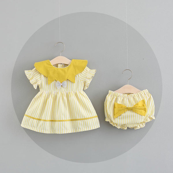 Striped Bow Bloomer Sets For Baby Girls