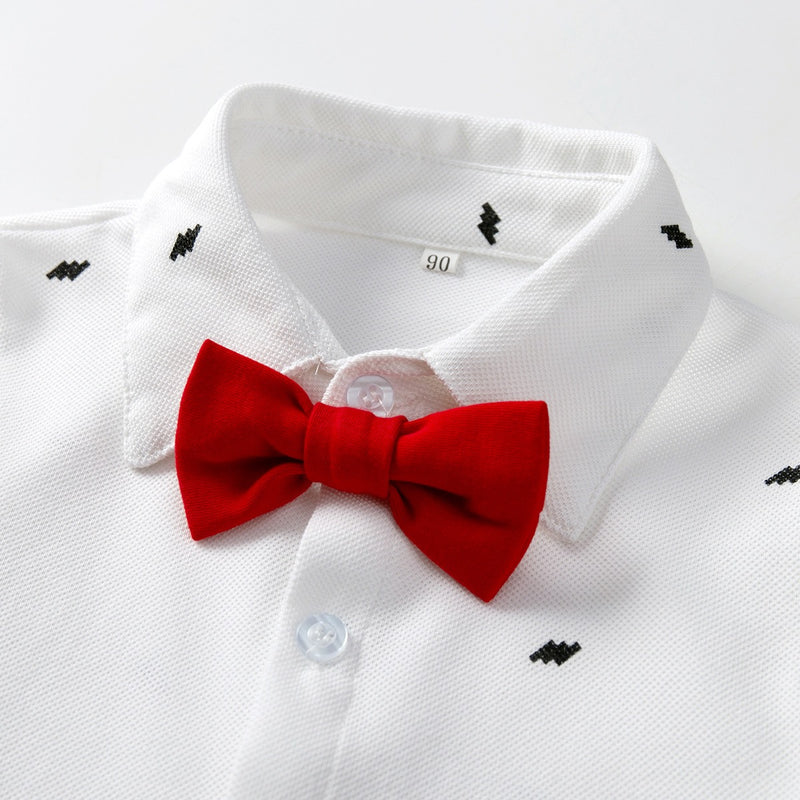 Printed Bow White Shirt And Suspender Pant Set